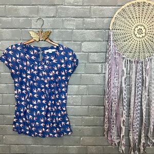 boden // sparrows birds print silk blend blouse 2